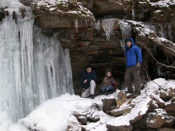 Tim, Christian, and Aaron at the entrance of the ice cave