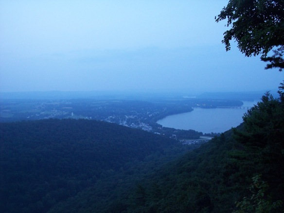 Twilight view of Duncannon and the Susquehanna River from Hawk Rock