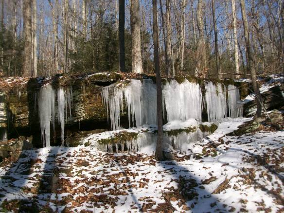 Ice flows along the trail
